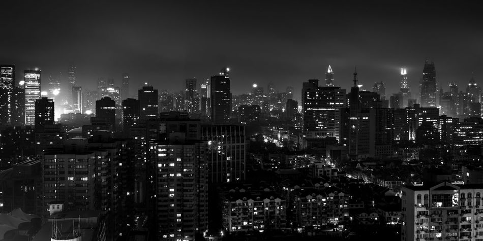 living in the city / Architecture Black Bnw City Cityscape Dark Darkness And Light EyeEm Best Shots Foggy Lights Living Long Exposure Night Night View Nightphotography No People Panorama Schwarzweiß Skyscraper The City Light Urban Skyline View View From Above Welcome To Black