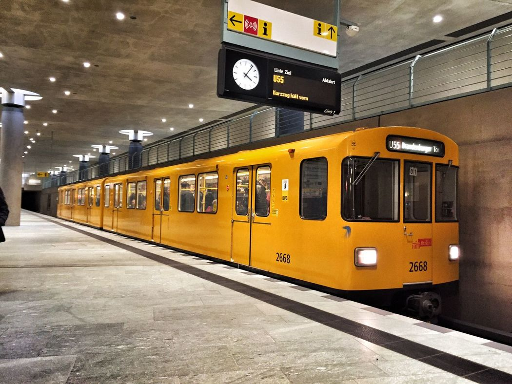 Architecture Built Structure City City Gate Day Indoors  Mode Of Transport No People Public Transportation Rail Transportation Railroad Station Railroad Station Platform Station Subway Subway Train Time Train - Vehicle Train Berlin Transportation Travel Travel Destinations Ubahn Berlin Yellow Yellow Subway
