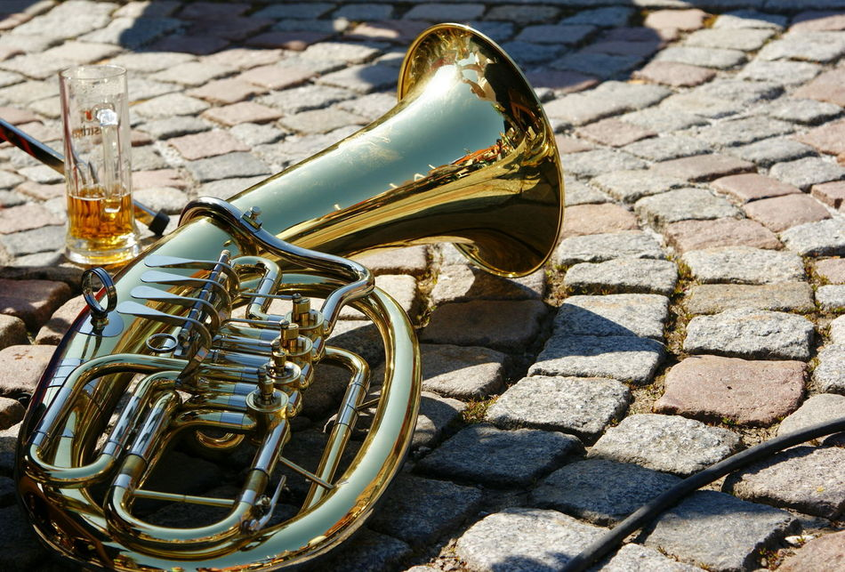 Beer Beer Glass Beer Time Carnival Carnival Crowds And Details Cobbles Cobblestone Cobblestones Day Festival Gaiety Kirmes Music Festival Musical Instrument Musician No People Outdoors People's Festival Plaster Still Life Symbol Symbolic  Tuba