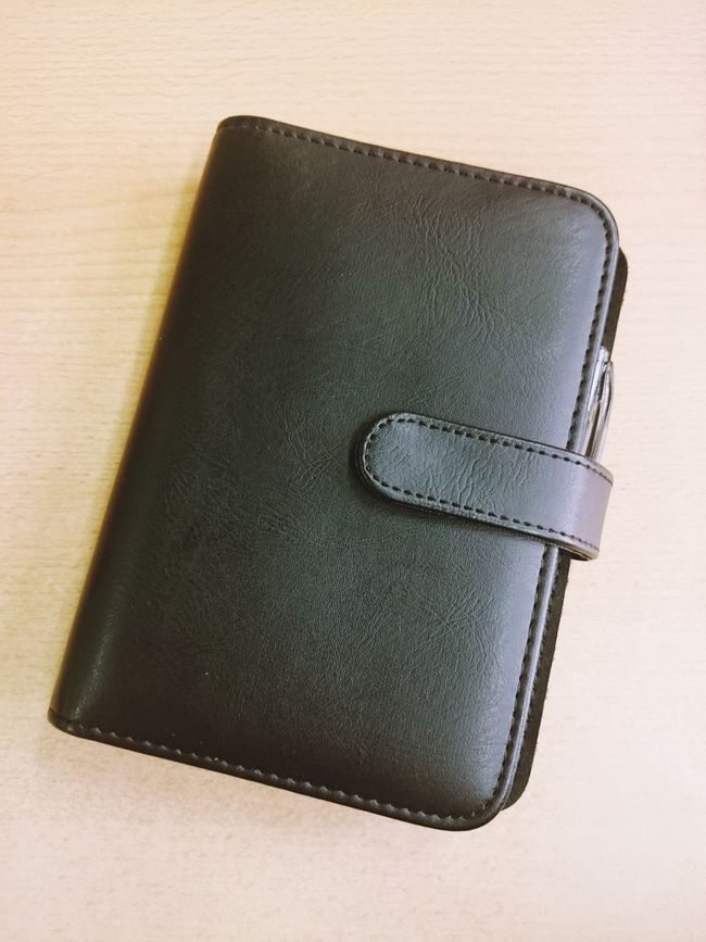 Black Calendar Faux Filofax Faux Leather Filofax High Angle View Notes Planner