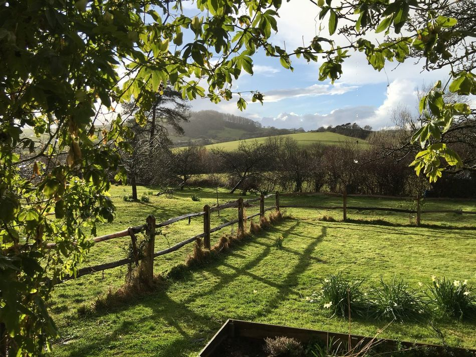 Garden With A View Open Aspect Landscape Paddock Rustic Fence Sky And Clouds Dorset Cottage Garden  Rolling Hills Springtime Early Spring