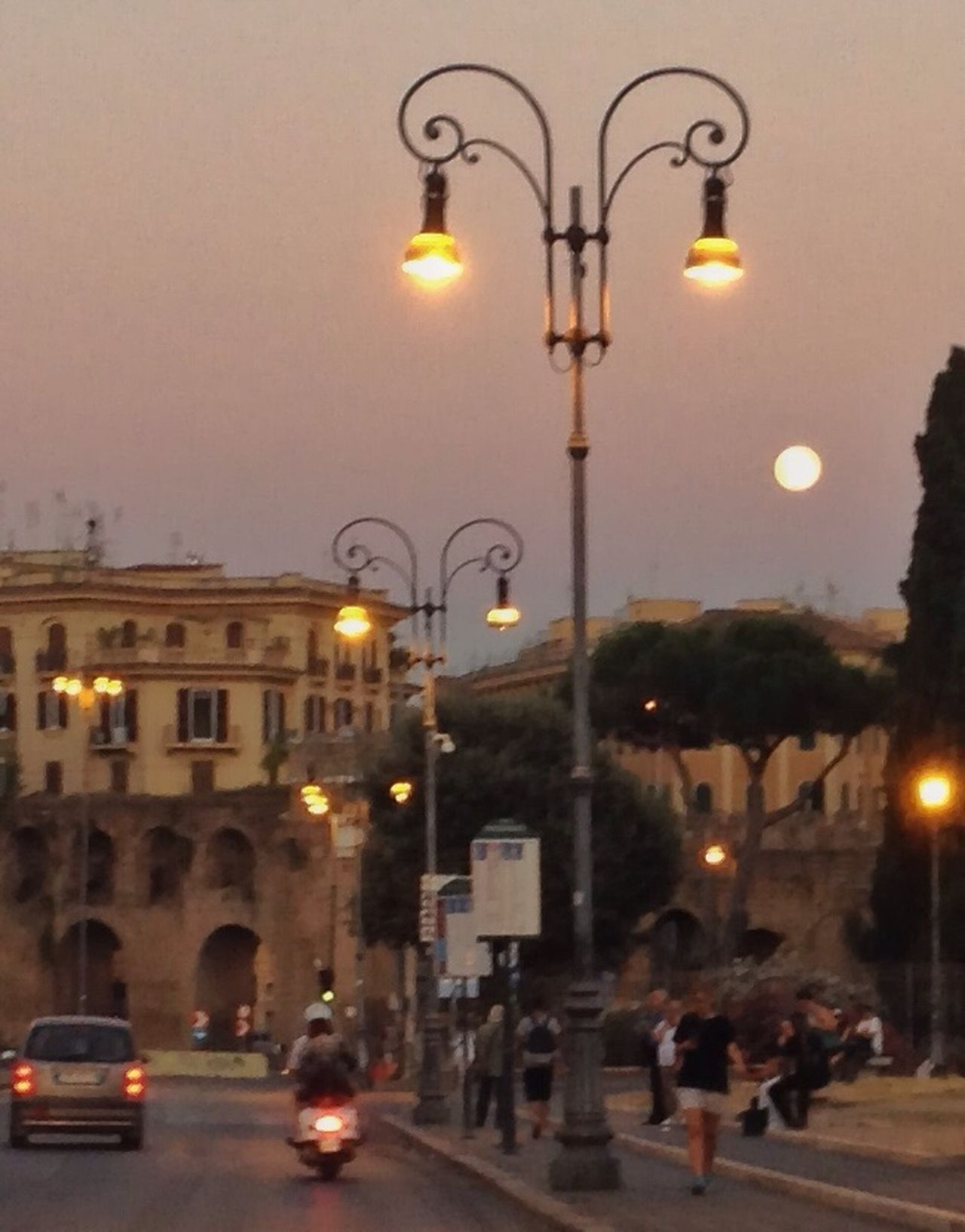 Roman evening with full moon.