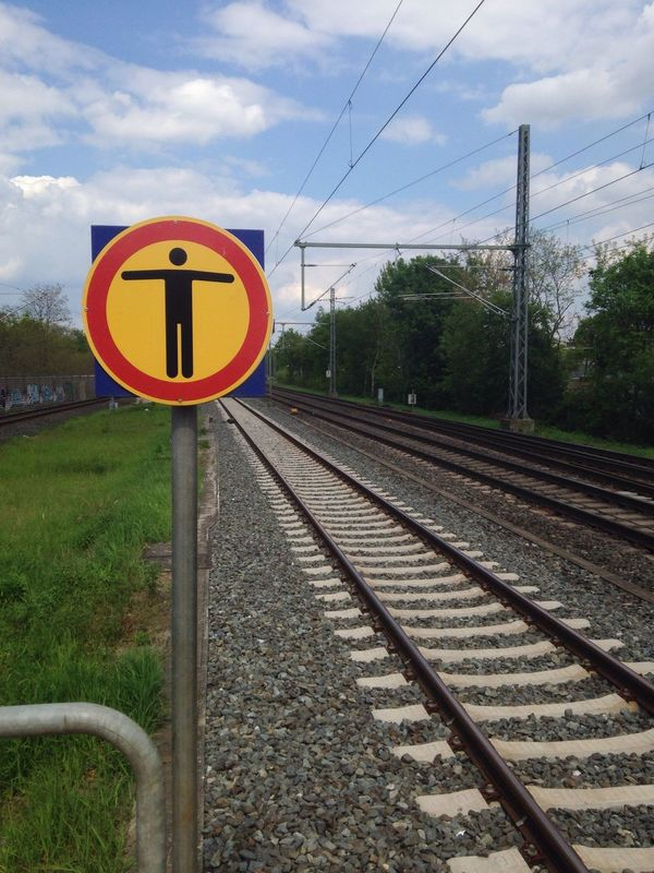 Railroad Track Rail Transportation Transportation No Entry Warning Sign Electricity Pylon Day No People Outdoors
