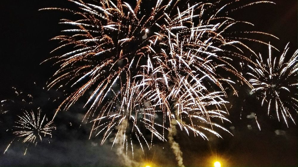 New year fireworks...Celebration Firework Display Night Exploding Firework - Man Made Object Long Exposure Sparks Event Outdoors Motion No People Smoke - Physical Structure Low Angle View Dark Sky Multi Colored Firework 2017 New Year 2017 Welcome! 2017 🍾🎇🎉❤ Fireworks Photography Firework🎆