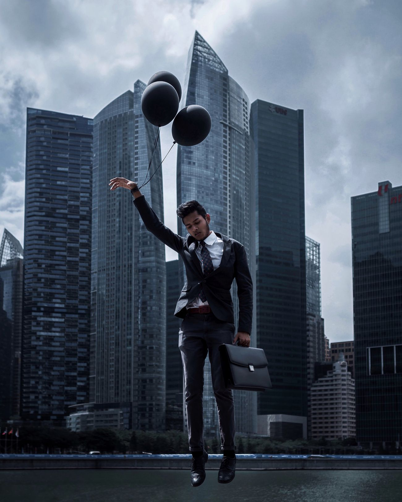 Escapism Serenity Outdoors Cloudy Cityscapes Cityscape City Emotions Escapism Escape Reality Moody Balloons Portrait