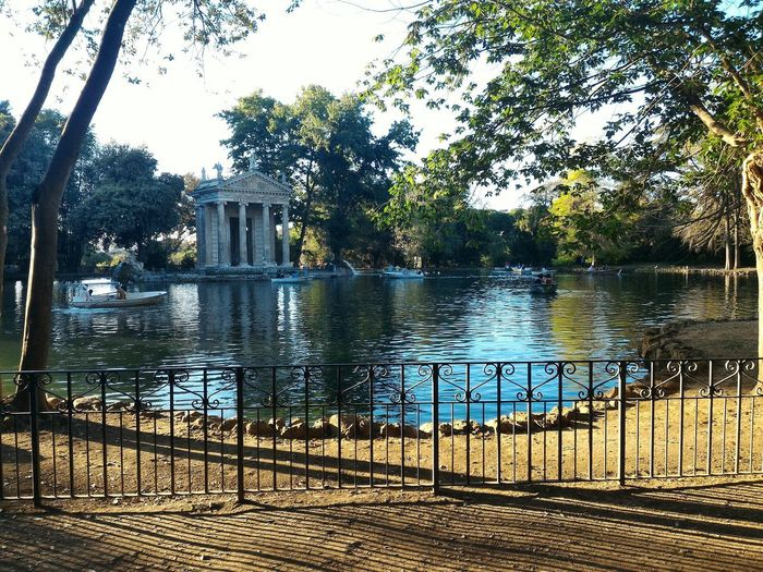 Boat Trees Aesculapius Statue Temple Villa Borghese Gardens Pond Outdoors Rome Italy🇮🇹