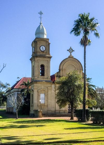 Abbey Church of the Holy Trinity Stucco Turret Bell Tower Abbey Church Old Australia Trees Monastic Benedictine Western Australia New Norcia Architecture Religious  Building Historic Spiritual Place Of Worship Sky Abbey Church Of The Holy Trinity Façade Ornate Historical Building
