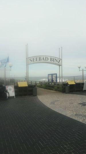 Seebad Binz. Text Communication Built Structure Guidance No People Sky Outdoors Day Baltic Sea Beach Binz Auf Rügen Holiday