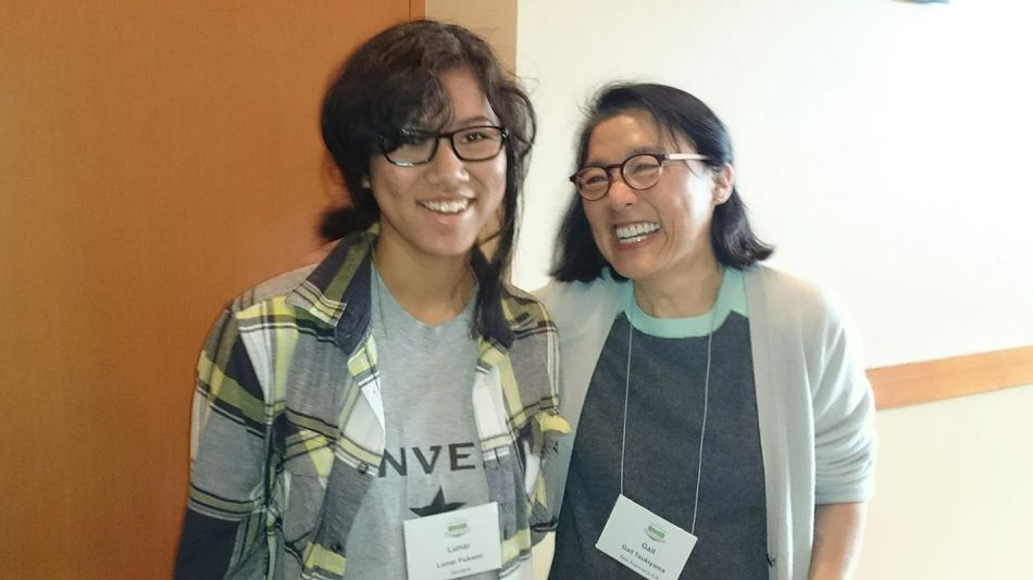 My daughter meeting a famous author. Her name is Gail Tsukiyama