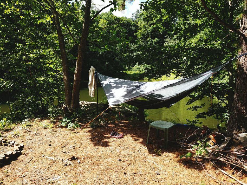 Hammock Camping Hanging Out Camping Hammockcamping On The Pond At The Lake