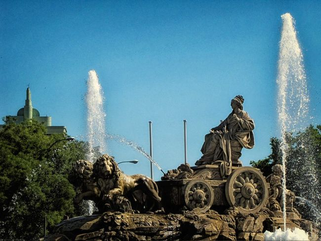 Blue Cibeles Clear Sky Famous Place Fountain Human Representation Madrid Sculpture SPAIN Statue Sunlight Water
