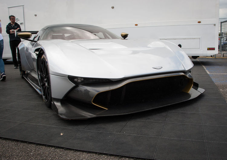 Aston Martin Vulcan Aston Martin Aston Martin Vulcan Car Close-up Day Focus On Foreground Lifestyles Silver  Silverstone Truck White