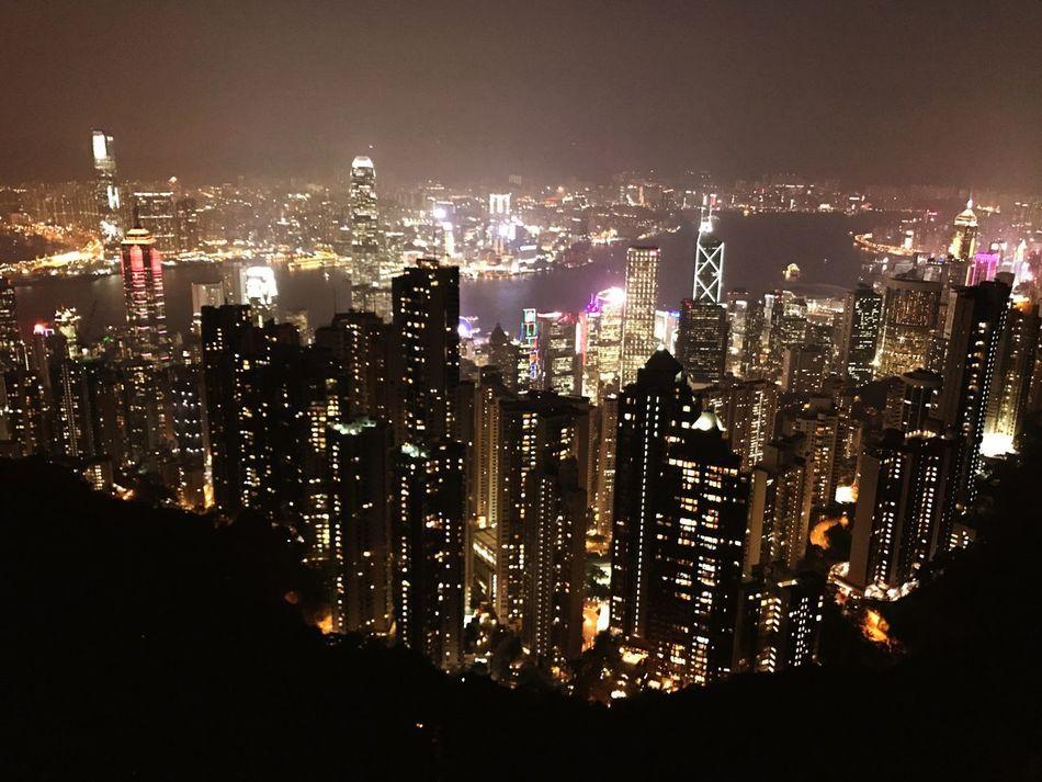 HongKong Hong Kong Victoria Harbour Night Lights Victoria Peak Observatory The Peak