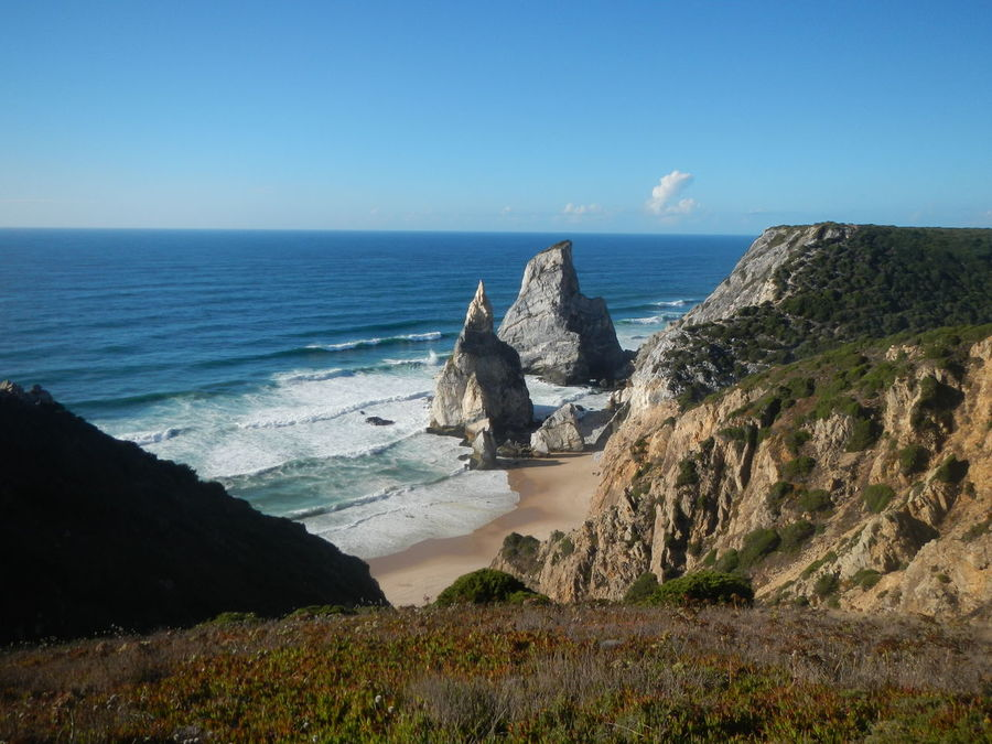 Beauty In Nature Blue Clear Sky Cliff Coast Day Dramatic Coast Horizon Over Water Nature No People Outdoors Portugal Scenics Sea Sky Tranquility Water Wave White Wave