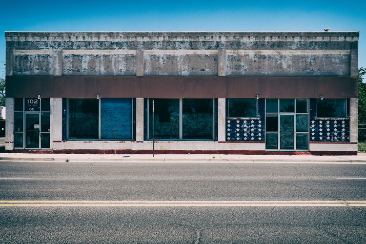 107 66 American Arizona Lost Route 66 Abandoned Abandoned Buildings Architecture Blue Building Building Exterior Built Structure Clear Sky Day Empty Forsaken Place Geometry No People Seligman Stars Stars And Stripes Windows