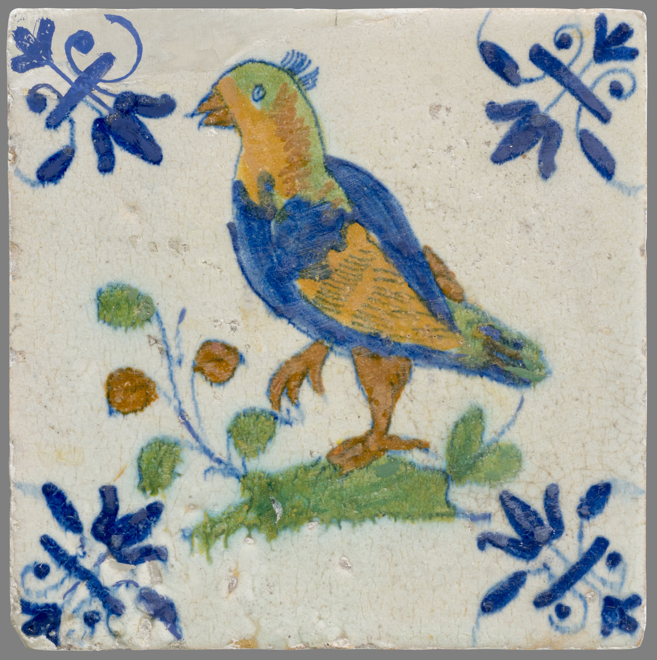 16th Century 17th Century 18th Century Animal Themes Bird Blue Ceramics Close-up Day Flower Nature Netherlands No People Outdoors Painted Image Tile