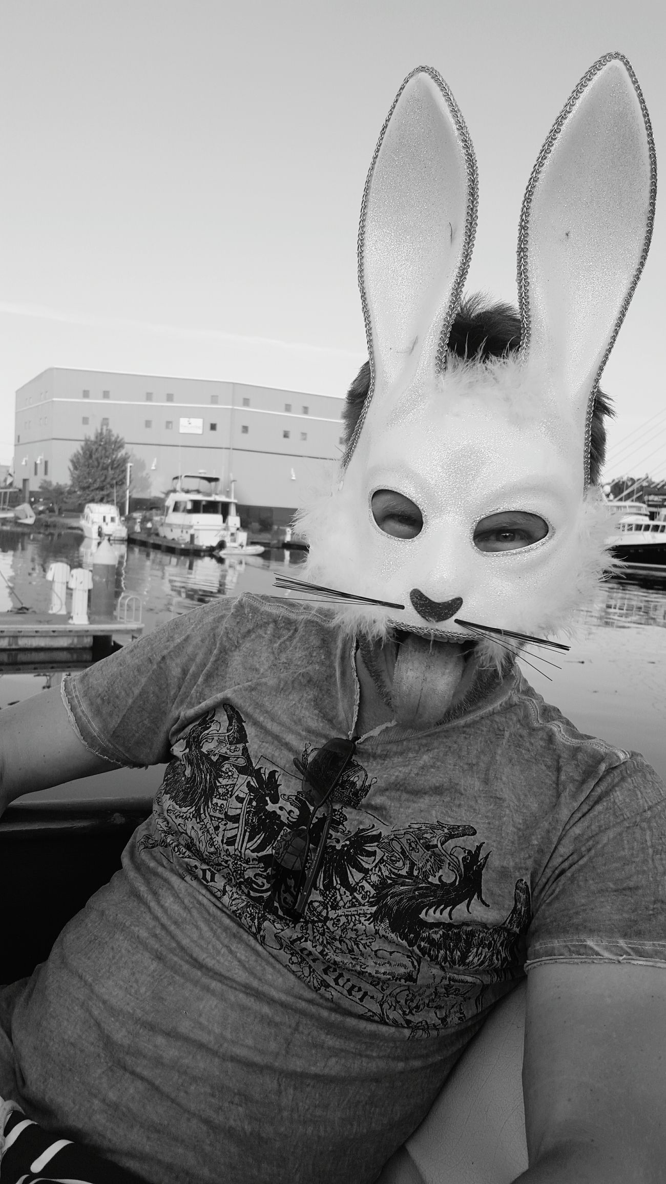 Checked off my bucket list: boating with a bad bunny. Onaboat Tacoma_WA Mask Bunny 🐰 Rabbit BadRabbits Bucketlist