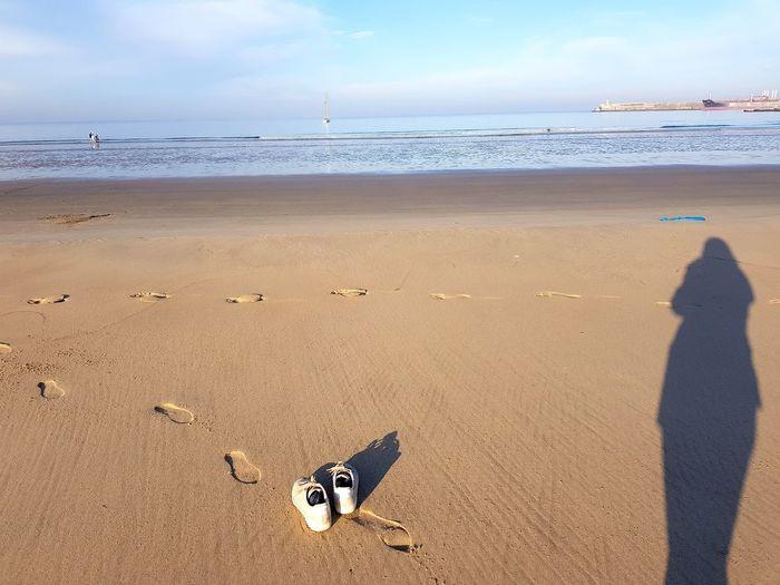 Beach Sand Sea Sunny Summer Outdoors Shadow Sunlight FootPrint Nature Tranquility Portugal Serenity Porto Walking São João Da Ribeira Ate à Foz
