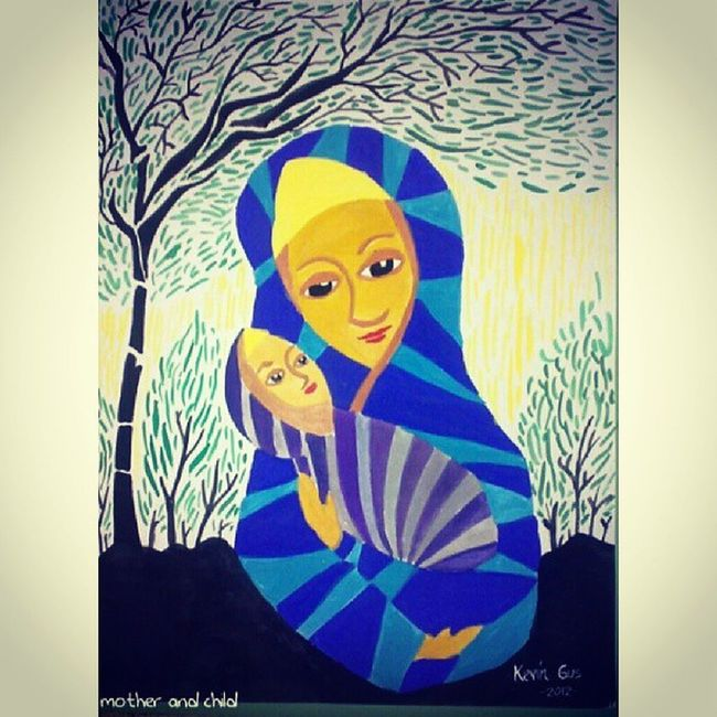 Mother and Child.... Madonnaandchild Cubism Kevoartist Artist art filipinoartist painting