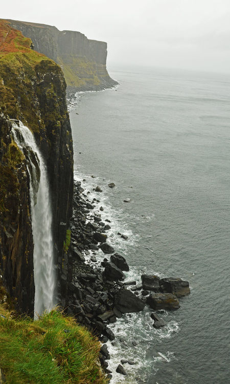 Mealt Falls & Kilt Rock on a very dull and rainy day. Beauty In Nature Cliff Coast Isle Of Skye Kilt Rock Mealt Falls North Sea Rock Formation Tranquility Water Waterfall EyeEmNewHere The Great Outdoors - 2017 EyeEm Awards