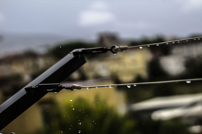 The moment.. Blurred Close-up Day Drop Focus On Foreground Laundry Moment Rain RainDrop Rope Steel Cable The Moment The Moment - 2016 Eyeem Awards Water Wet