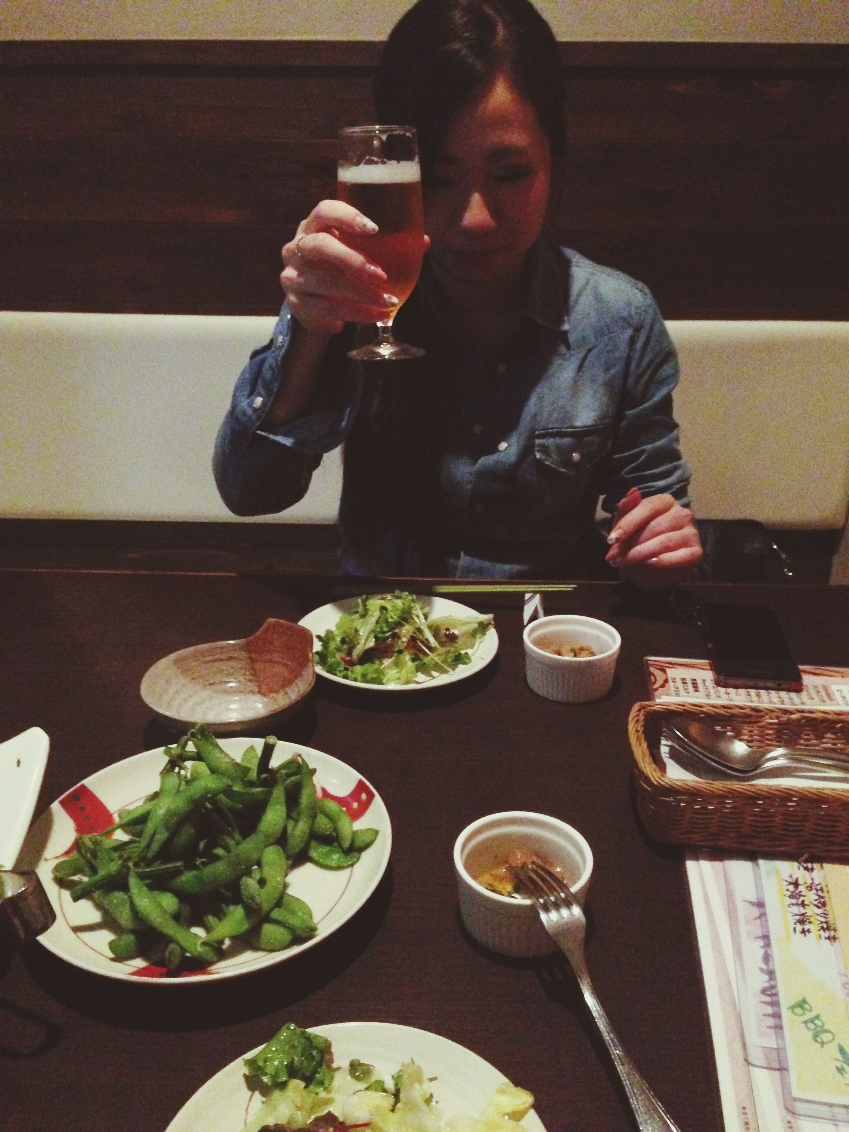 food and drink, indoors, food, freshness, table, healthy eating, plate, lifestyles, holding, leisure activity, ready-to-eat, restaurant, meal, preparation, casual clothing, drink, sitting, vegetable