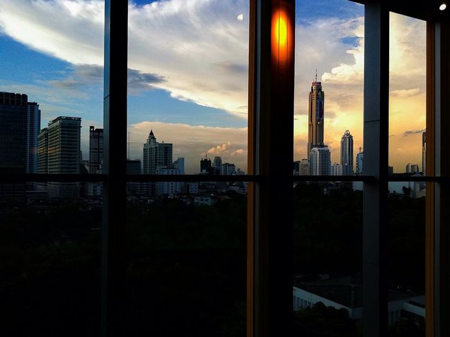 Home Is Where The Art Is From The Window Sky And Clouds Skycrapers Cityscapes In The Evening Sunset Silhouette And Sky Metropolis Like A Dream