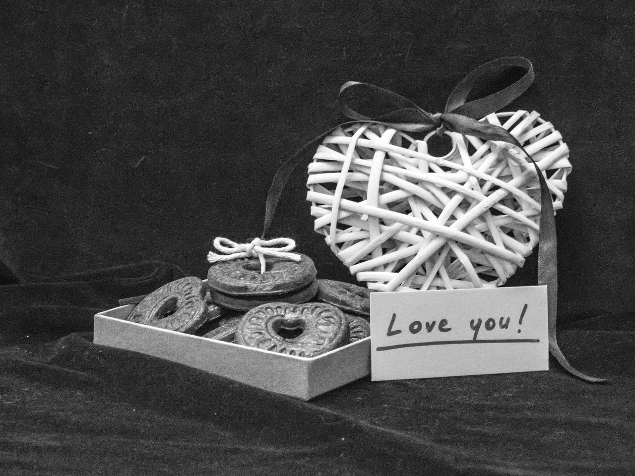 Valentine's day decoration Background Black And White Black And White Collection  Black And White Photography Box Celebration Confession Cookies Day Heart Heart Shape Holiday Love No People Old-fashioned Ribbon Valentine's Day  Valvet White