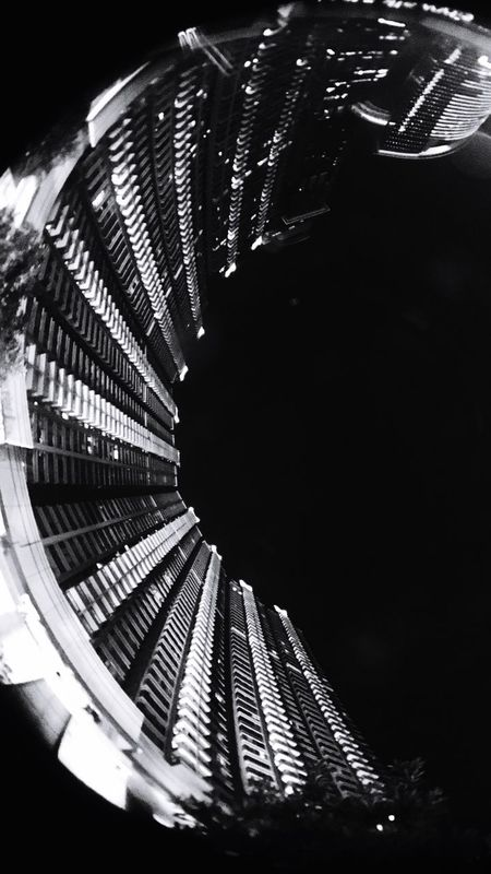 Embryo Urbanphotography Urban Geometry Urban Skyline Urban Exploration Blackandwhite Blackandwhite Photography Monochrome Photography Nightphotography Architecture Low Angle View Fisheye Built Structure The Architect - 2017 EyeEm Awards No People Night Outdoors Welcome To Black Light And Dark Buildings Building Exterior Embryo Futuristic Curve Composition Art Is Everywhere