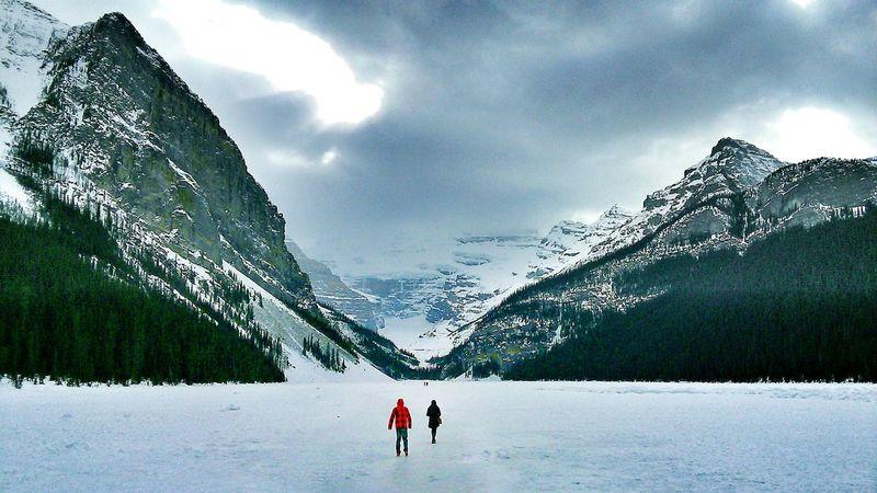 Frozen Lake Lake Louise Thin Ice Lake Louise,Alberta Trip Clouds Ice Rocky Mountains Mountains