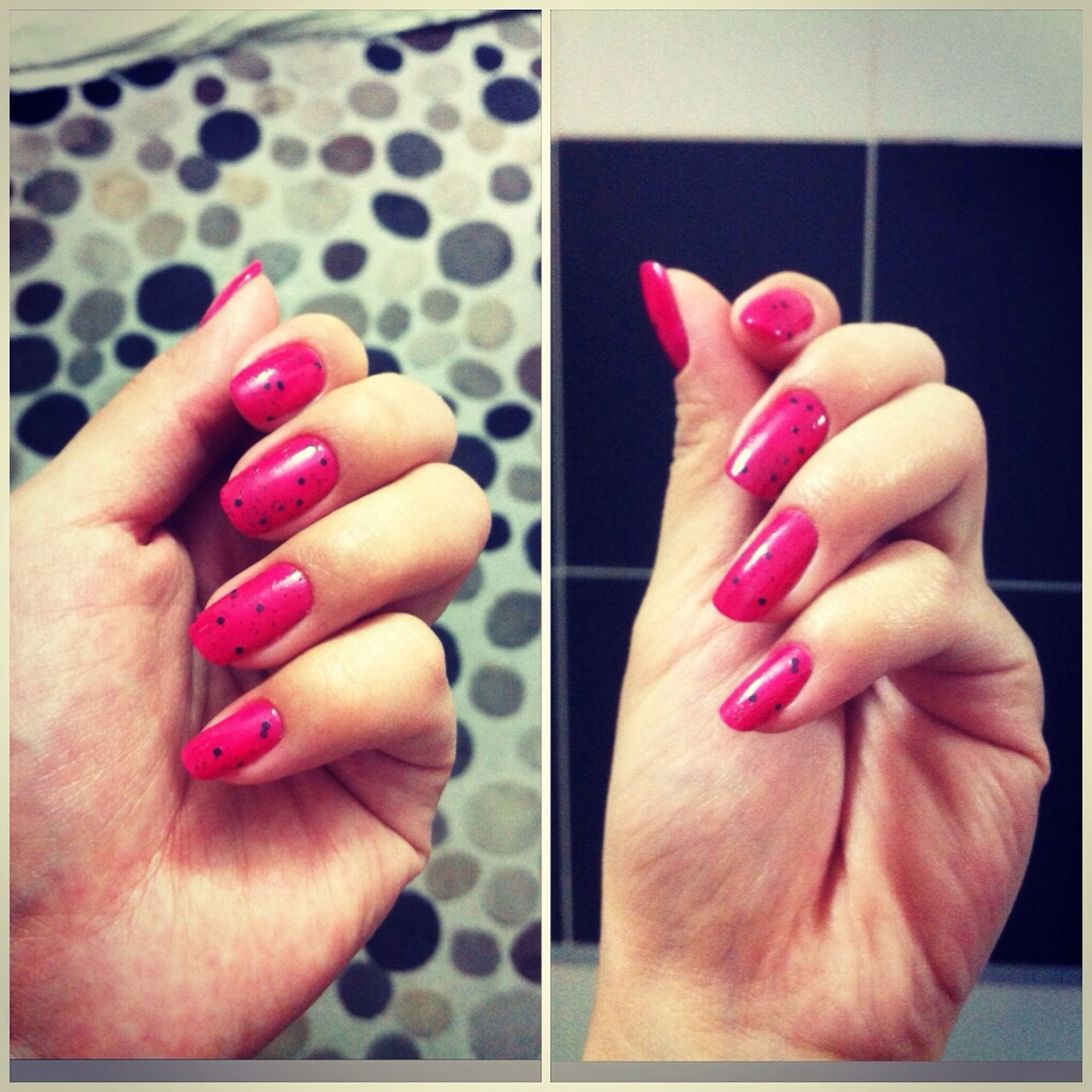 person, part of, human finger, indoors, cropped, holding, close-up, nail polish, unrecognizable person, high angle view, personal perspective, pink color, red, table, pencil, showing