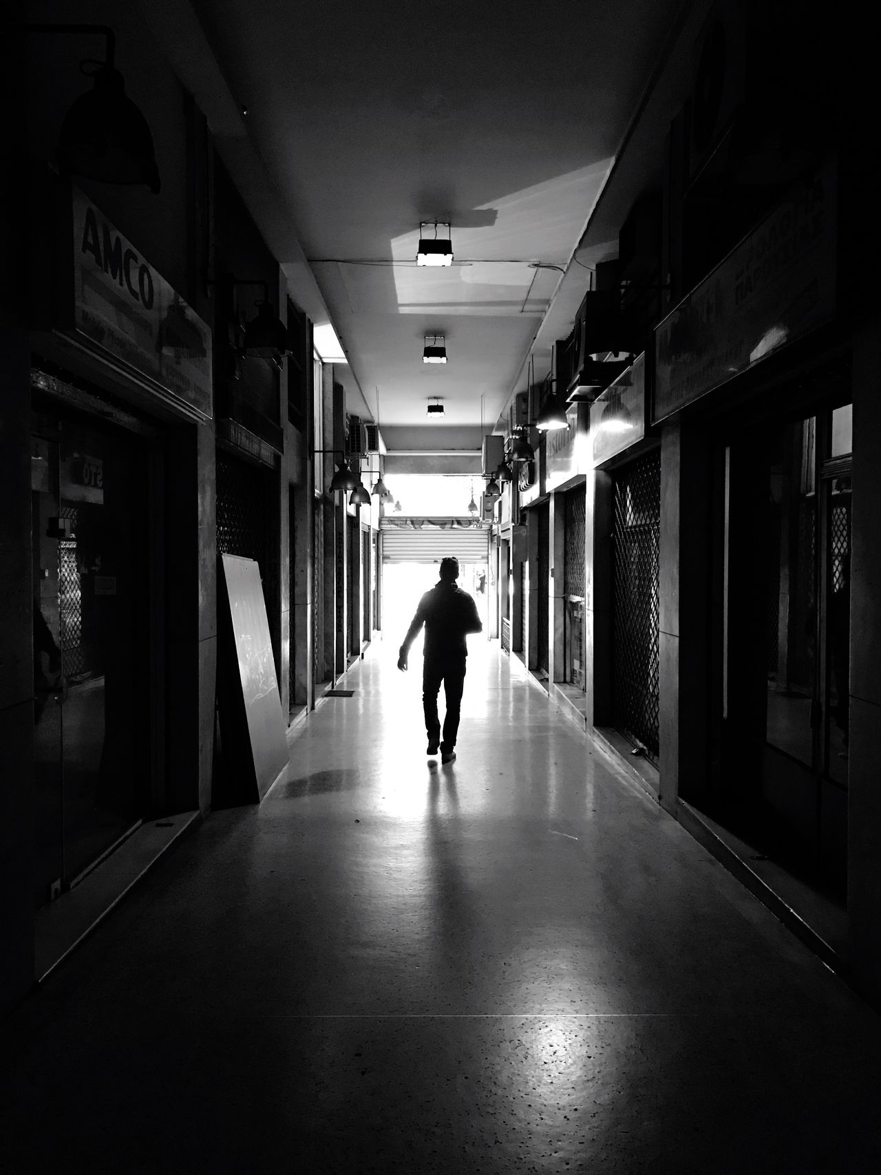 Walking One Person Blackandwhite Lifestyles Passage Shotoniphone7plus The City Light