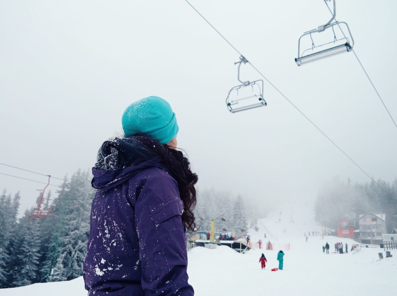Cold look... Winter Snow Warm Clothing Cold Temperature Weather Leisure Activity Lifestyles Ski Lift Sky Snowing Overhead Cable Car Snowboarding Foggy Fog Made In Romania VSCO Travel Travel Destinations Fresh On Eyeem  My Favorite Photo Details Of My Life Moments Of Life Woman Mountain Women Around The World