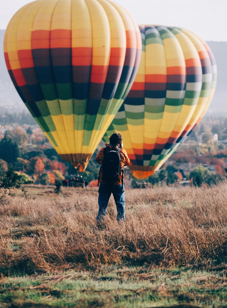 Beautiful stock photos of balloon, Day, Full Length, Grass, Hot Air Balloon