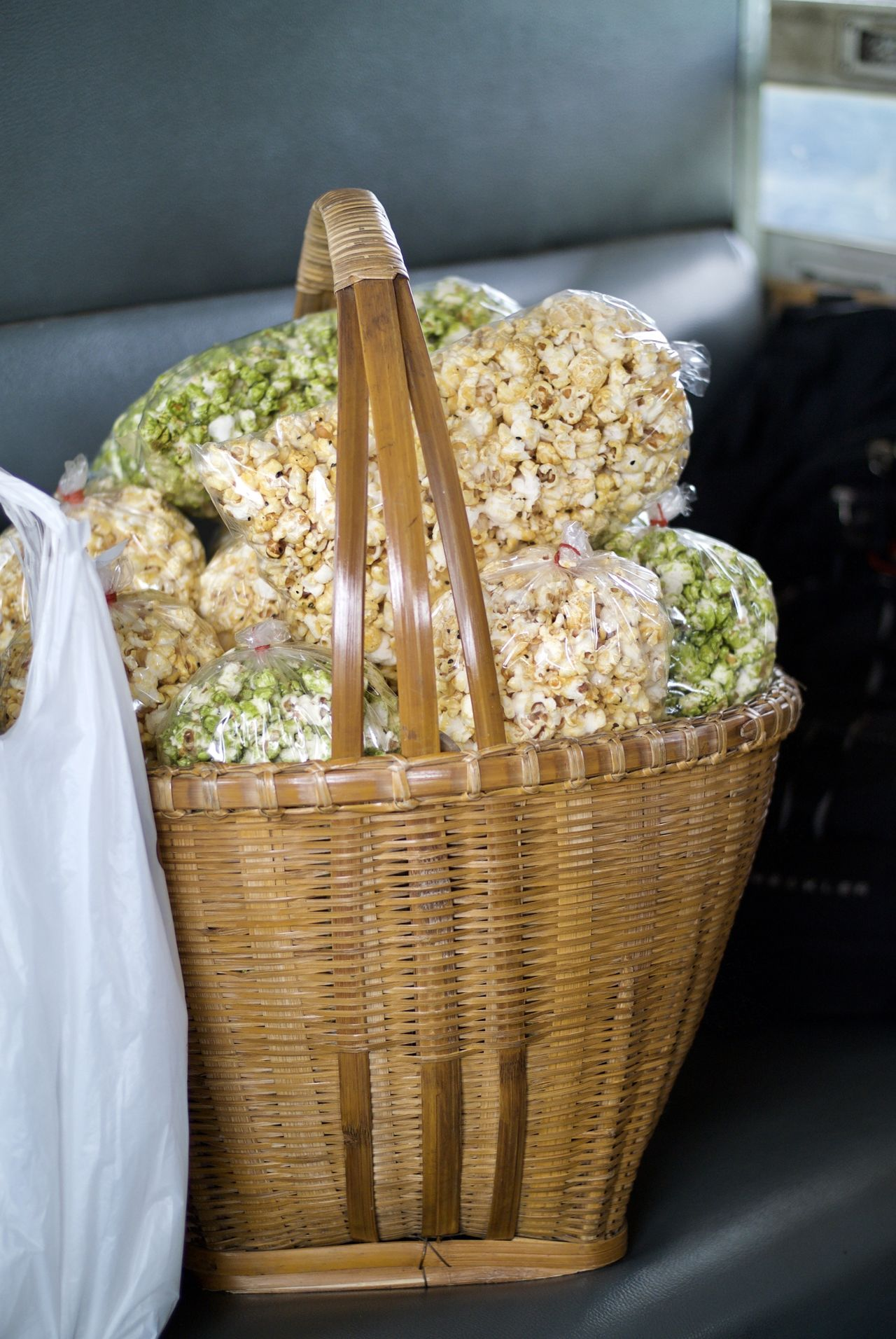 Bamboo Bamboo Basket Basket Close-up Day Food Food And Drink Freshness Indoors  No People Popcorn Ready-to-eat Train - Vehicle