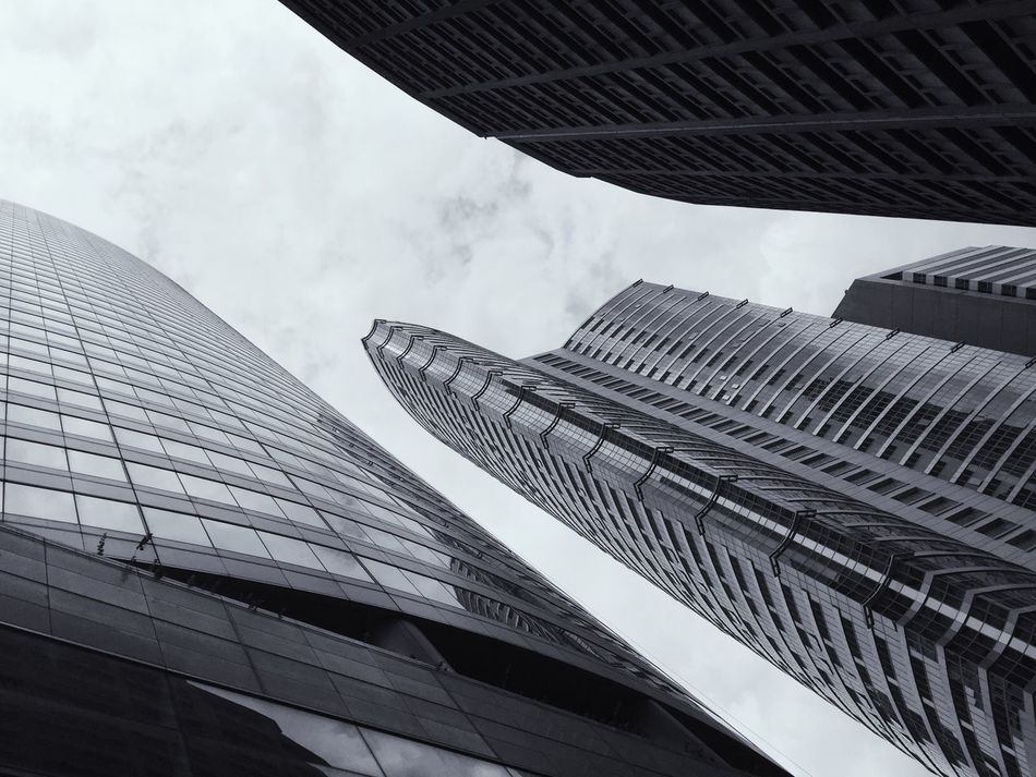 Dramatic Angles Buildings Architecture Skyscraper Blackandwhite Photography Office Building Low Angle View City Tower Modern Building Exterior Built Structure Eyeem Philippines Welcome To Black