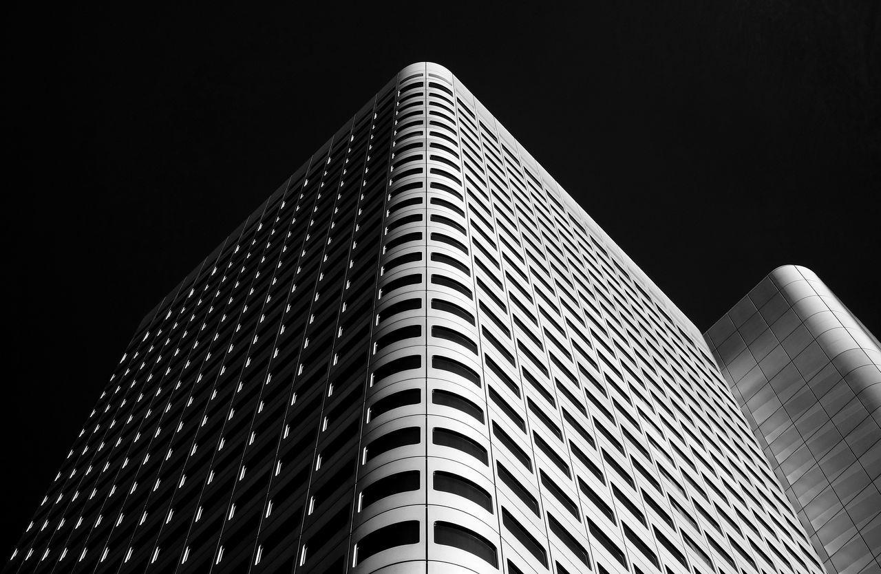 Architecture Blackandwhite Building Exterior Built Structure Contrast Façade Low Angle View Modern Simplicity Skyscraper Symmetry