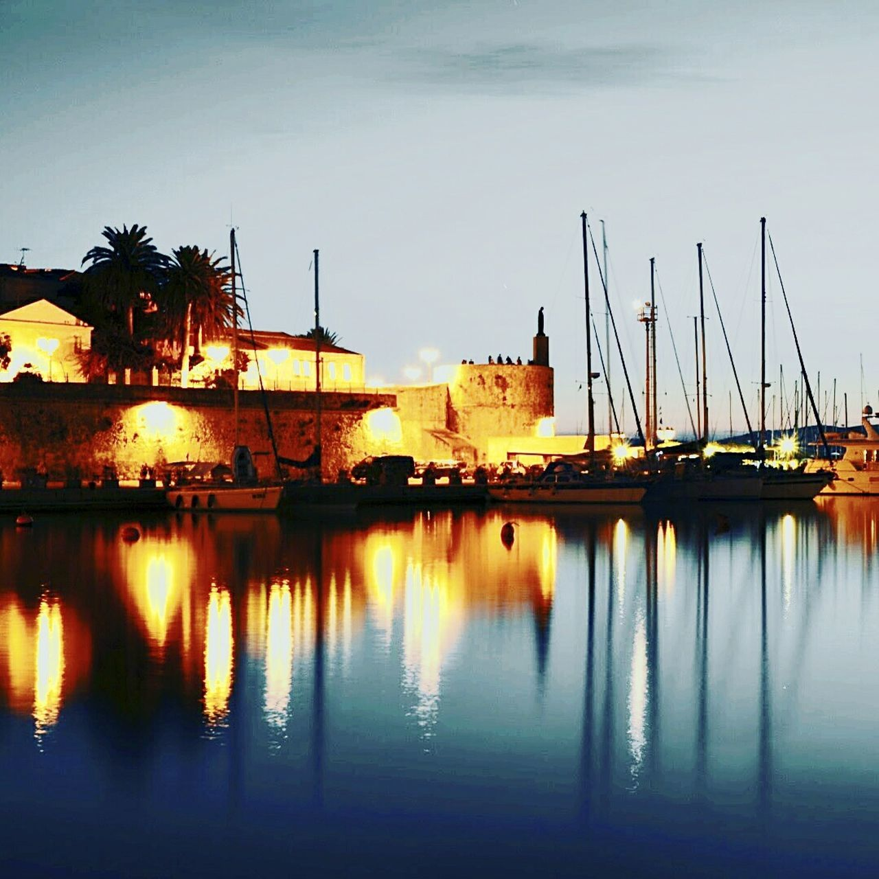 Reflection Water Sunset Travel Nautical Vessel Transportation No People Travel Destinations Sky Outdoors Harbor Sardinia Sardegna Italy  Alghero Italian Riviera Port Seaside Seaside Resort Boat Harbour View Castle Dawn