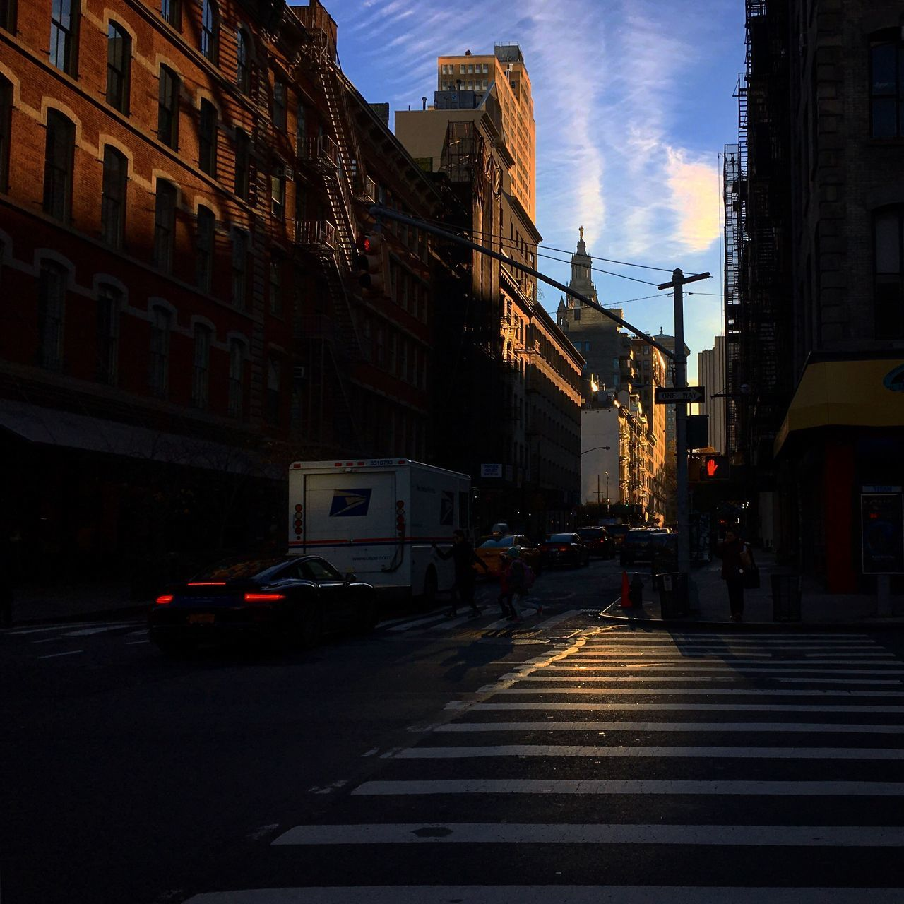 Building Exterior Architecture Built Structure City Street Transportation City Street Sky Outdoors Travel Destinations Road No People Day NYC New York New York City Architecture Blue Sky City Autumn Morning Light Manhattan Downtown Sunlight Gotham City