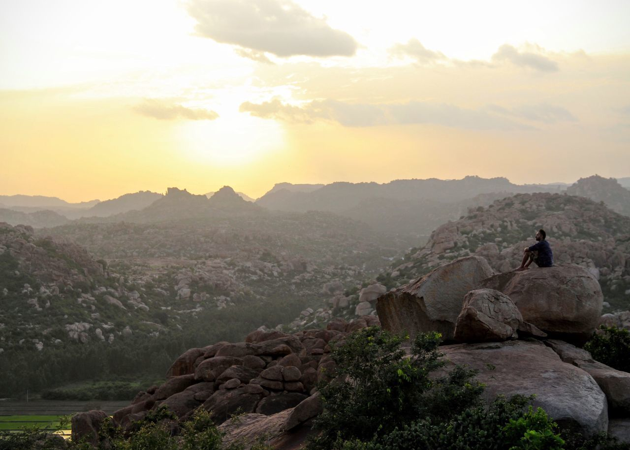 Sunset Mountain Travel Destinations Tranquil Scene Beauty In Nature Landscape Boulder Lonely Alone At Top Alone Time Tranquility The Week On Eyem Travel Photography India