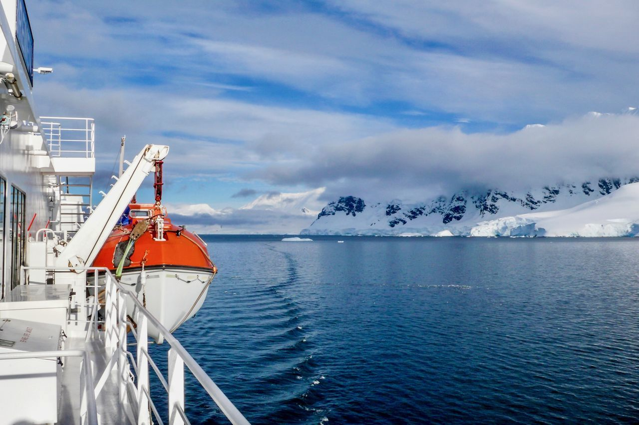 Antarctica EyeEm Selects Lifeboat Nature Nature Photography Wilderness Area Accident Accidents And Disasters Beauty In Nature Cloud - Sky Day Mountain Nature Nature_collection Nautical Vessel No People Outdoors Scenics Sea Ship Sky Tranquility Transportation Water Wilderness