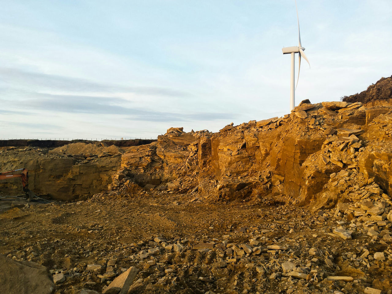 Cloud - Sky Sky Construction Site No People Outdoors Day Nature Scenics The Great Outdoors - 2017 EyeEm Awards Sunlight Quarry Earth Site Work Stone Rock BYOPaper! Landscapes Landscape Mountain Rock - Object Windmill Turbine Wind Turbine Eco