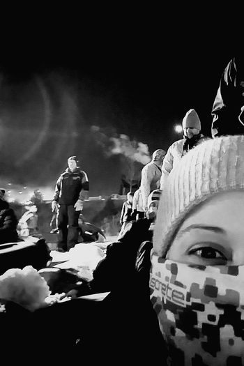 Adults Only Adult Fun Young Adult Night Outdoors Snow ❄ Snow Sports Picturing Individuality Close-up Looking At Camera Loving Life  Winter Warm Clothing Check This Out Eye4photography  Cold Temperature Black And White Photography Snowtubing Facecovered