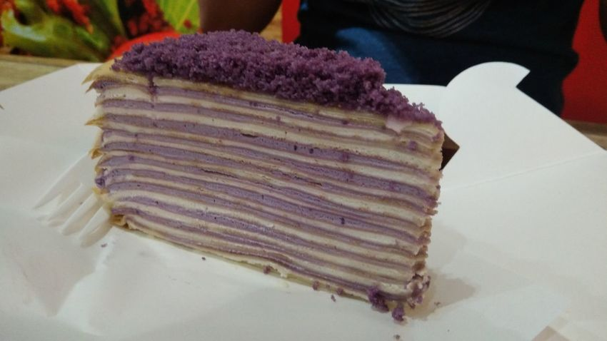 Intricately layered mille crepe. Close-up Food Foodporn Dessert Desserts Cake Crepe Crêpes Mille Crepe Delectable Delicious Sweet Sweet Tooth. Cravings