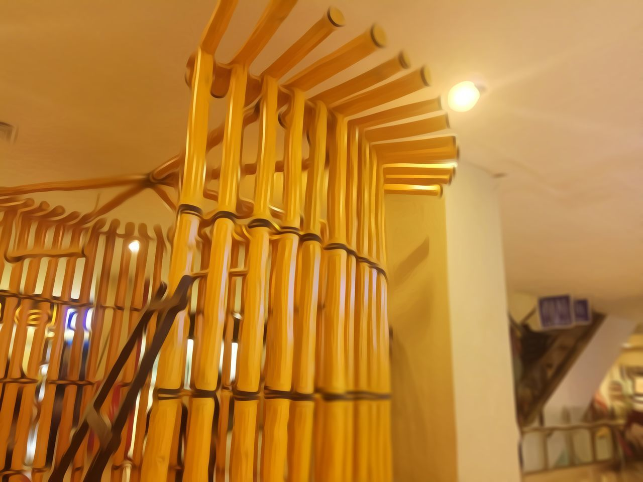 No People Night Luxury Modern Bamboo Shoots Bamboodesign Bamboo Art Yellow Indoors  Built Structure Low Angle View Architecture