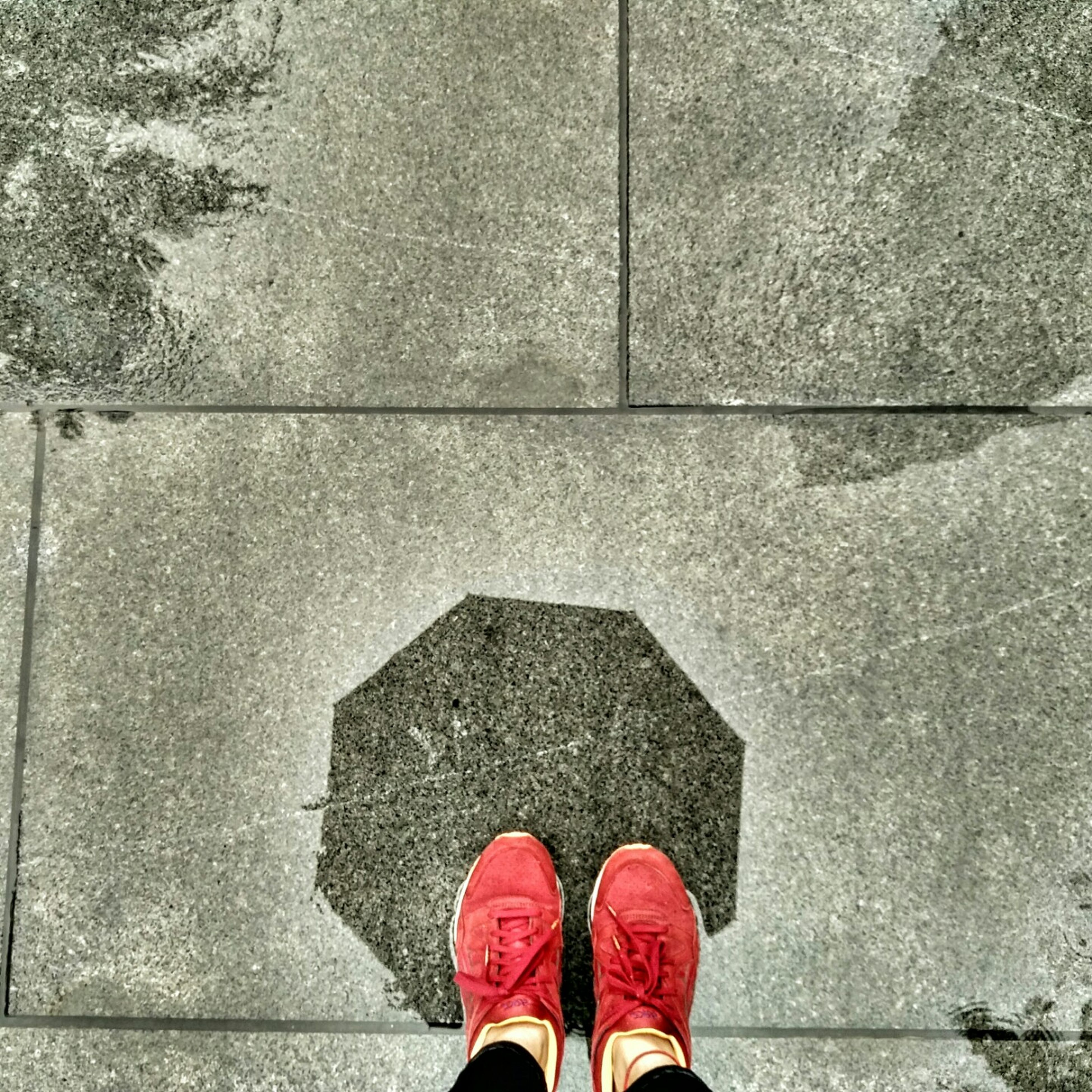 low section, person, shoe, standing, personal perspective, human foot, footwear, high angle view, directly above, red, human feet, day, footpath, concrete, overhead view