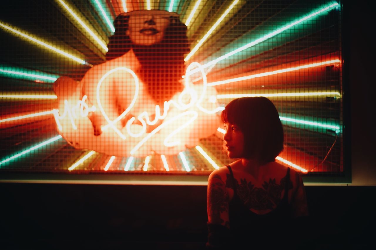dazzling Illuminated People One Person Road Sign Neon Night One Man Only Adult Young Women Only Women Portrait One Woman Only Beauty Modern Beautiful Woman Beautiful People City Life Lifestyles Fashion The Week On EyeEm