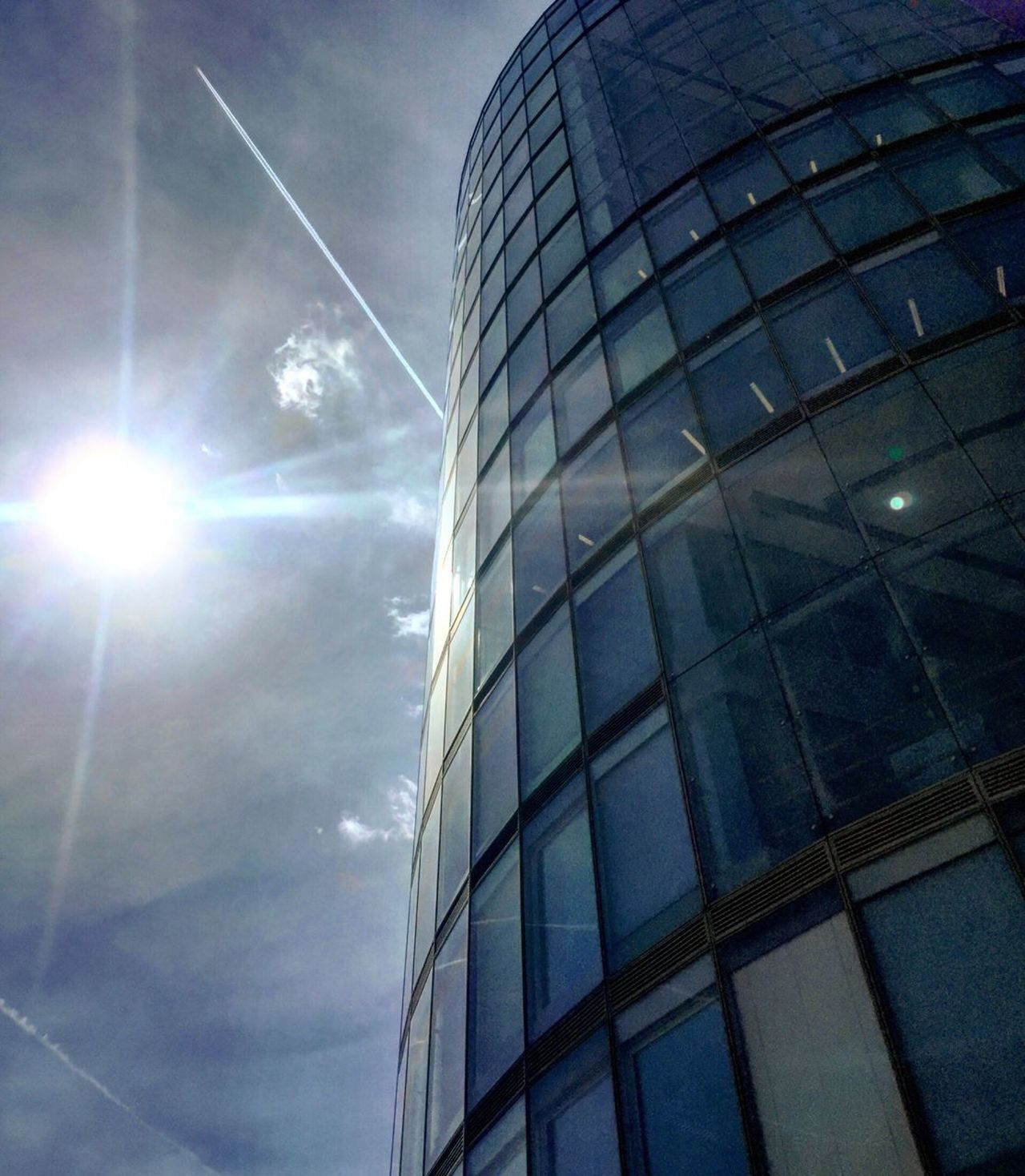 Sunny business Sky Architecture Low Angle View Built Structure Building Exterior Sunlight No People Day Outdoors Reflection Cloud - Sky Modern Window Nature City Water Tower - Storage Tank