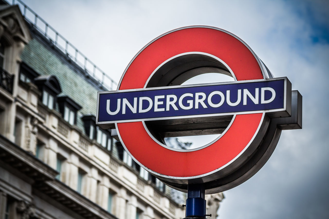 Architecture Building Exterior Built Structure Close-up Communication Day Famous Places London London Underground LONDON❤ Low Angle View No People Outdoors Public Transport Red Road Sign Sign Sky Text Transportation Tube Uk Underground
