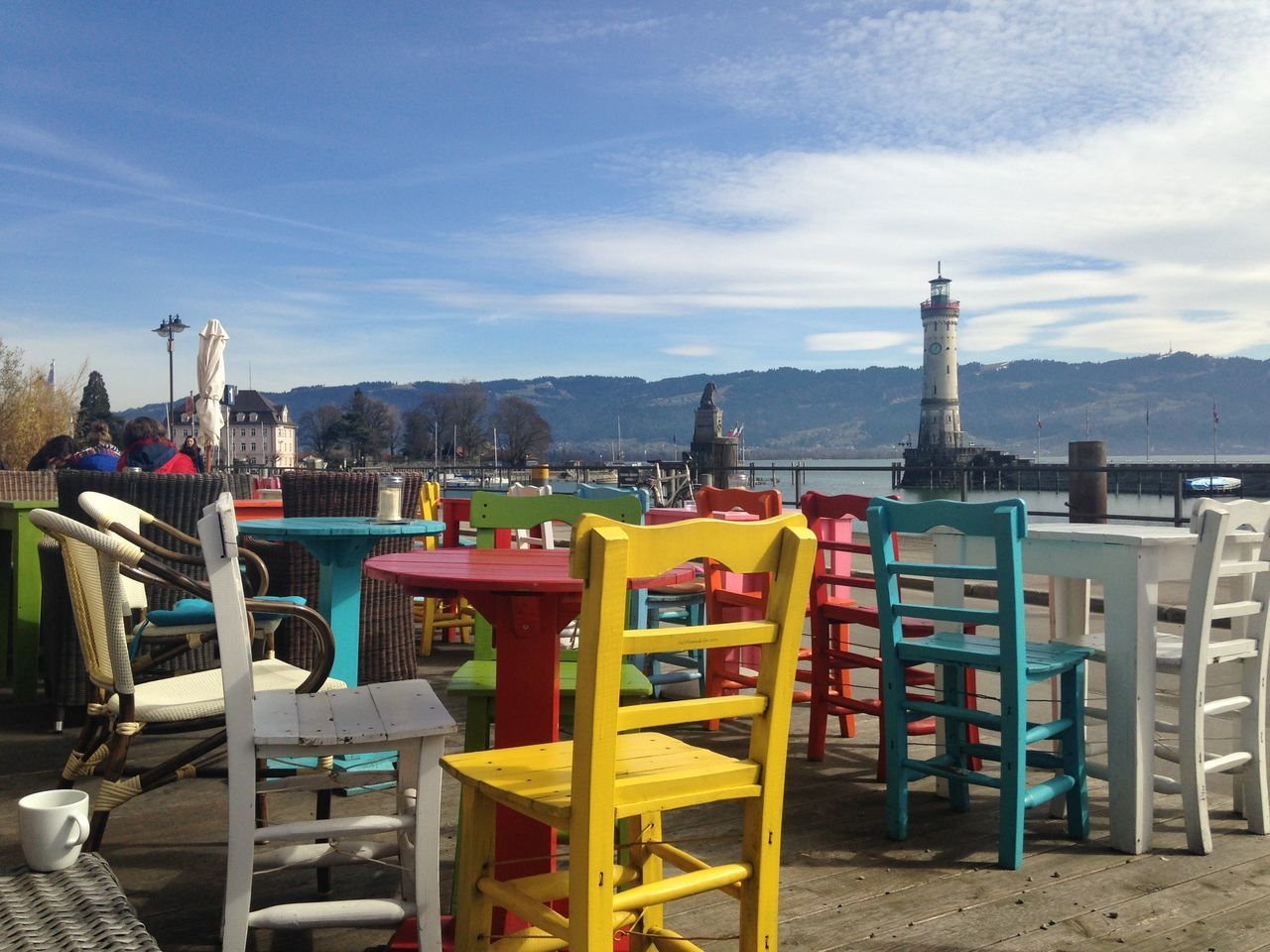 Architecture Blue Building Exterior Built Structure Chair Colorful Day Furniture Lindau Bodensee Mountain No People Outdoors Sky Sunlight Water